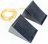 BUNKERWALL Pack of 2 (One Pair) Wheel Chock Blocks On 4 Foot Rope - Small - Heavy Duty Black Rubber 5' x 3' x 2.5'
