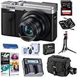 Panasonic LUMIX ZS80, 20.3 Megapixel Digital Camera, 4K Video, 30X Zoom Lens, DC-ZS80S (Silver), Bag, Battery, Dual Charger, Tripod, 64GB SD Card + Case, PC Software Pack, Cleaning Kit, Card Reader