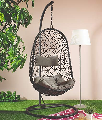 Dawsons Living Vienna Hanging Egg Chair - Outdoor and Indoor Rattan Weave Swing Hammock - Hanging Stand - Black