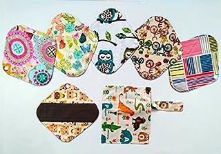 7pcs/Set 1 Wet Bag + 6pcs 8 pulgadas carbón de Bambú Gamuza de mama/almohadillas de Menstrual/Compresa reutilizable/Panties