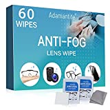 Anti Fog Wipes for Glasses, Pre-moistened & Individually Wrapped Antifog Lens Cleaning Wipe with Microfiber Cloth, for Eyeglasses, Camera Lenses, Face Shields, Ski Masks or Swim Goggles (60 Count)
