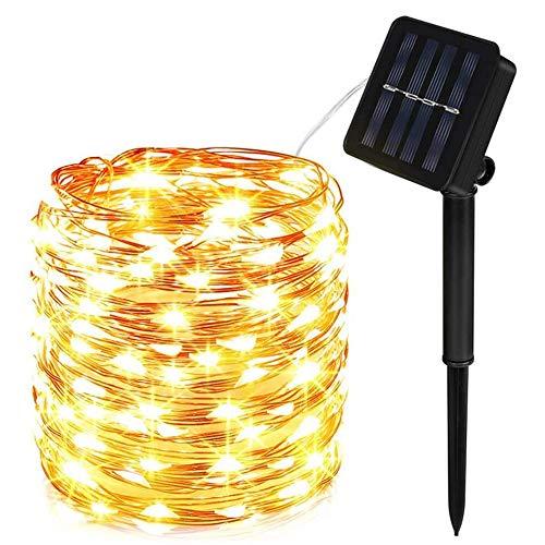 Molbory Cadena Luces Solares, IP65 Impermeable Cadena de Luces 10M 100 LED, 8 Modos Guirnaldas Luces Solar con Alambre de Cobre para Hogar, Jardin, Exterior, Boda, Decoracion - Blanco Cálido