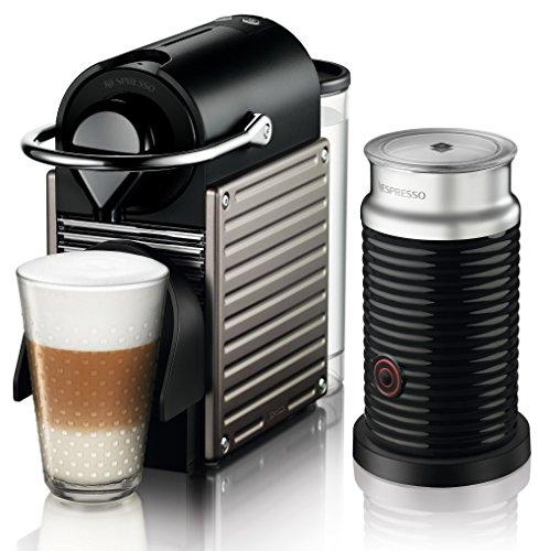 Krups Nespresso Pixie XN301T Kaffeekapselmaschine (mit Aeroccino, 19 bar, Thermoblock-Heizsystem) electric titan schwarz