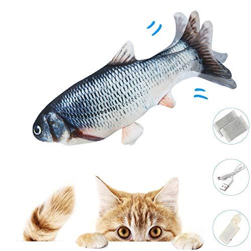 Zibnwee Katzenspielzeug Fisch, Elektrisch Spielzeug Fisch mit Katzenminze, Katze Interaktive Spielzeug USB Elektrische Plüsch Fisch Kicker Katzenspielzeug mit Katzenminze Kauen Spielzeug