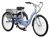 Schwinn Meridian Adult Trike, Three Wheel Cruiser Bike, 7-Speed, 26-Inch Wheels, Cargo Basket, Periwinkle