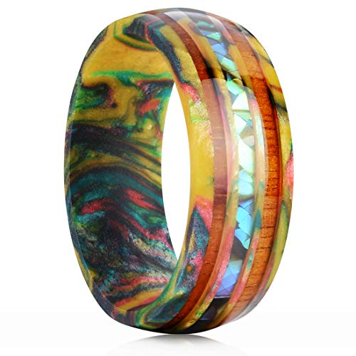 King Will 8mm Men's Colored Resin Ring Inlaid Wood&Abalone Shell Wedding Bands 6.5(Resin Pattern and Color Random)