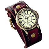 Lancardo - Reloj de pulsera de cuero vintage con bisel de bronce de latn antiguo (marrn) para fiesta de disfraces de Halloween