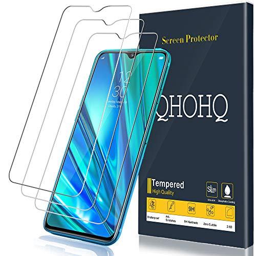 QHOHQ Protector de Pantalla para Realme 5 Pro, [3 Piezas] [Dureza 9H] Sin Burbujas HD Transparente Anti-Arañazos Cristal Templado