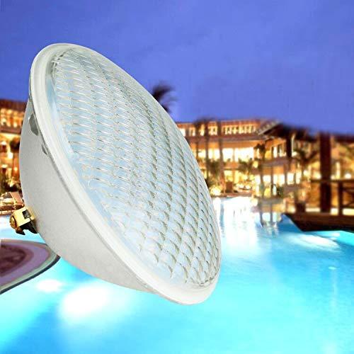 KWODE Luz de piscina, 36W PAR 56 LED Lámpara de luz subacuática para piscina, Luz blanca impermeable para estanque de piscina interior al aire libre, 6000K DC 12V