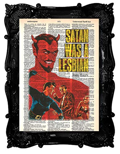 Satan was A Lesbian Poster Pulp Fiction Vintage Movie Erotic Wall Art Retro Dictionary Art Print