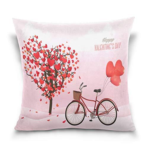 KENDIA Funda de Almohada Decorativa Funda de cojín Funda de Almohada Cuadrada, Feliz día de San Valentín Love Heart Tree Funda de Almohada para Bicicleta Funda con Lados Gemelos (18 Pulgadas)
