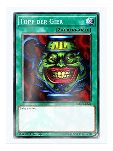 YGLD-DEB26 Topf der Gier 1. Auflage im Set mit original Gwindi Kartenschutzhülle