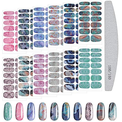 Kalolary 12 Stücke Farbverlauf Marmor Nagellack Aufkleber Selbstklebende Voll Nagel Wickeln Einfarbige Nagel Abziehbilder Farbverlauf Nagel Verpackungen mit Nagelfeile