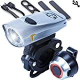 Bestargot Bike Light High Performance Lightweight, IPX4 Waterproof 4 Modes Cycling Light, 300 Lumens 6+ Hours Duration Flashlight with USB Rechargeable Tail Light(USB Cable Included)
