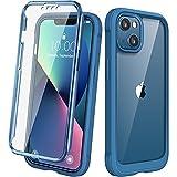 Diaclara 360 Grad Hülle Kompatibel mit iPhone 13 6,1 Zoll, Ganzkörper Schutzhülle, Handyhülle mit eingebautem Anti-Kratzer Displayschutz, Stoßfest Bumper Case, Wasser Blau