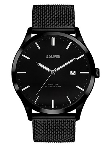 s.Oliver Herren Analog Quarz Uhr mit Edelstahl Armband SO-3479-MQ, schwarz