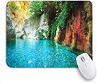 KAPANOUマウスパッド 孤立した自然のラグーン入り江の透き通った水湖アイビーカラフルな苔岩サンシャイン ゲーミング オフィ良い 滑り止めゴム底 ゲーミングなど適用 マウス 用ノートブックコンピュータ