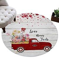 カーペット 円形 ラグマット バレンタイン バラ 赤い 風船 告白 愛情 木の板 じゅうたん シャギーラグ 絨毯 ふわふわ マイクロファイバー 防音 滑り止め付 床暖房 ホットカーペット対応 おしゃれ 直径 100cm