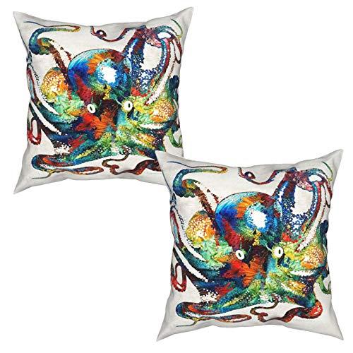 LESIF - Set di 2 federe decorative per cuscino, motivo: polpo di Sharon Cummings Sharon Cummings, per divano e poltrona, 50 x 50 cm