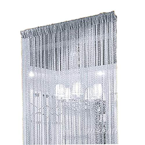 Duosuny 39x78 Inch Decorative Door String Curtain Wall Panel Fringe Window Panel Drapes Room Divider Blind Divider Tassel Screen Home ( Silvery-Gray 2pcs)