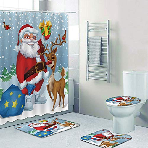Merry Christmas Shower Curtain Sets, Non-Slip Carpet, Toilet Lid and Bath Mat, Santa Shower Curtain with 12 Hooks for Christmas Decoration