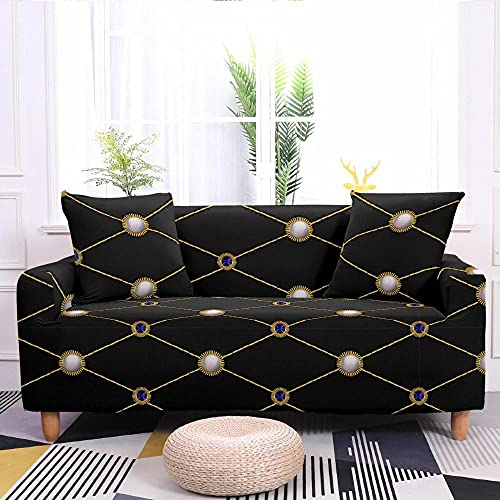 Fundas para Sofa Elastica 3 Plazas, Efecto Visual Moderno de Cuero Negro Estampada Suave Funda Cubre Sofá Ajustables Cubresofá Cubierta para sofá Funda Protector Funda de sillón 175-220cm