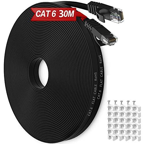 Cable Ethernet Cat6, Exterior Impermeable Al Aire Libre Cable De Red Plano 30 Metros, Rj45 Network Cable Gigabit Negro Lan Alta Velocidad Cable De ConexióN A Internet De 250MHz, 30 Clips Gratis