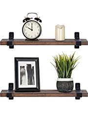 Mkouo drewniane pływające półki rustykalne naścienna półka sypialnia przechowywanie ściany rośliny zdjęcia ekspozycja organizer stojak do salonu łazienki kuchni biura, zestaw 2