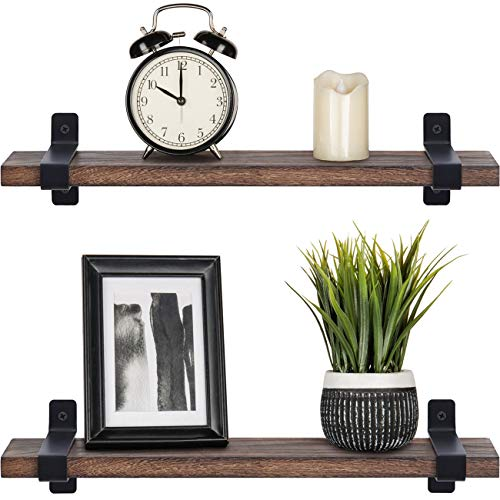 Mkouo Wood Floating Shelves Rustic Wall Mounted Shelf Bedroom Wall Storage Plants Photos Display Organizer Holder Rack for Living Room Bathroom Kitchen Office, Set of 2