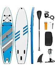 Stand Up Paddle Board 320 x 76 x 15 cm, opblaasbaar ISUP board set, 6 inch dikke surfplank met complete accessoires, hogedrukpomp, peddel, rugzak, reparatieset