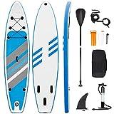Stand Up Paddle Board 320 x 76 x 15cm, Aufblasbares ISUP Board Set, 6 Zoll Dicke Surfbrett mit komplettem Zubehör, Hochdruckpumpe, Paddel, Rucksack,...