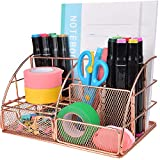 Mesh Desk Organizer Accessories All In One Storage Rack, Large Capacity Pen Pencil Paper Holder 5 Compartments& 1 Mini Sliding Features Desk Drawer for Home Office Supplies Makeup Jewellery, Rose Gold
