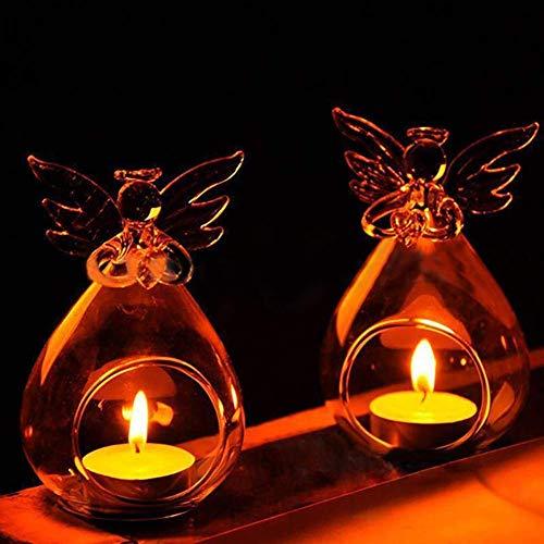 Warmiehomy 6 X Hängende Teelicht Kerzenhalter Teelichthalter Engel Muster Glas Pflanze Blumenvase mit Flügel Weihnachten Dekoration (Engel Kerzenhalter)