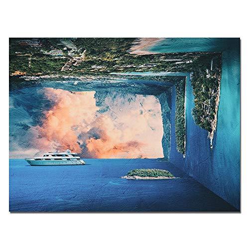 ZXYFBH Cuadros Decoracion Salon Paisaje Ocean Edge of The World Astract Travel Art Wall Canvas Painting Cuadro de Arte de Pared para decoración del hogar Sin Marco 30x40cmnoframe zx216