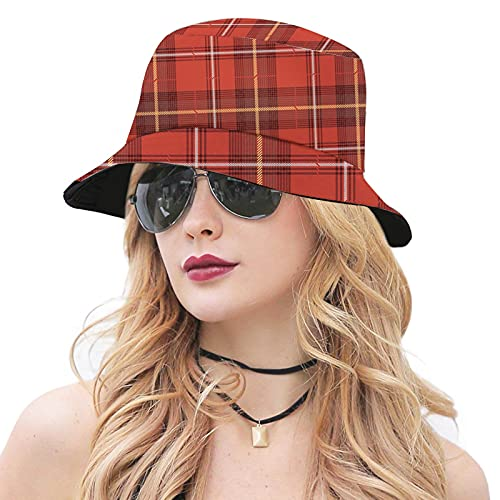Women's Polyester Bucket Hat,Old European Cultural Pattern with Geometrical Design Elements Checkered and Abstract