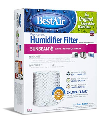 """Price comparison product image BestAir H65-PDQ-4 Extended Life Humidifier Replacement Paper Wick Humidifier Filter,  For Holmes,  Sunbeam,  White-Westinghouse,  GE & Bionaire Models,  8.2"""" x 2.7"""" x 10"""""""