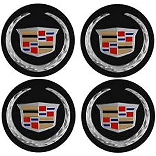 YOUGEYG 4X Cubierta Central Negra Cubierta de Cubo de Rueda de aleación de Aluminio, Que Cubre el Estilo de Centro Elevado, más Adecuada para Ruedas Cadillac CADI