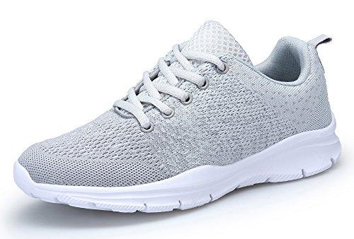 KOUDYEN Laufschuhe Atmungsaktiv Turnschuhe Schnürer Sportschuhe Sneaker für Herren Damen, 42 EU, Grau