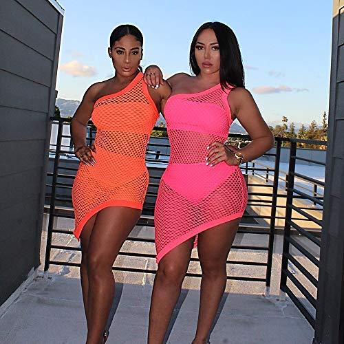 RVXZV SillyqZ Sommer Frauen Kleid Fischnetz Mesh One Shoulder Festival Streetwear Bodycon Partykleid durchsichtige Kleidung L Pink