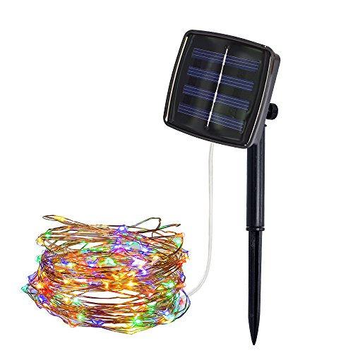 Bumplebee Solar Light String, 5m 50LED Solar Garden Lights 2 Modes Waterproof Copper Wire Decorative Solar Fairy Lights for Patio, Gate, Yard, Trees, BBQ, Wedding, Party