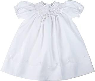 17448 Girls Dressy White Smocked Neckline Dress 12-24 Months.