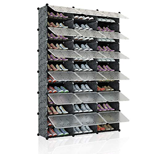 KOUSI Portable Shoe Rack Organizer 72 Pair Tower Shelf Storage Cabinet Stand Expandable for Heels, Boots, Slippers, 12-Tiers Black & Transparent Door