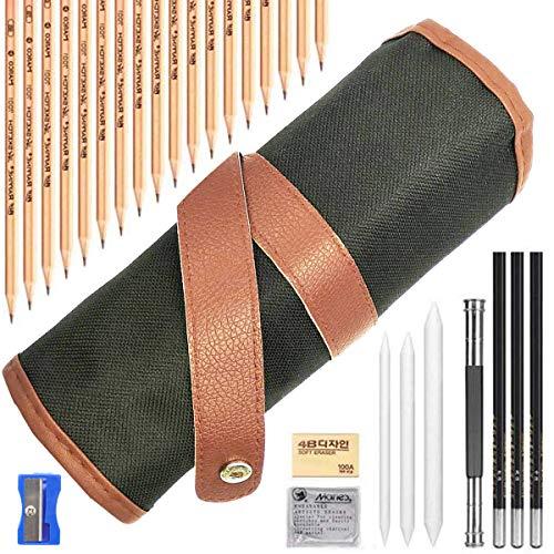 Akuoly Skizze Bleistift Skizzierstifte Set für Skizzieren und Zeichnen mit Kohlestifte Papierstifte Bleistifthalter Radier im Canvas Beutel,29 Stück