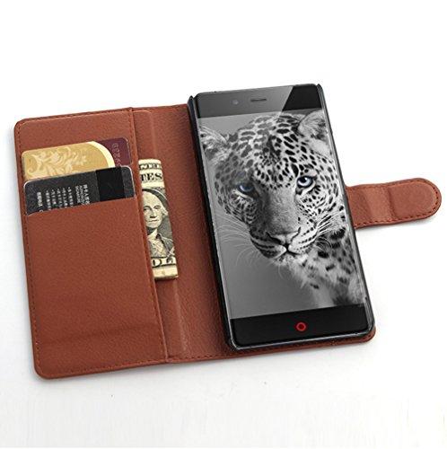 NEKOYA ZTE Nubia Z9 Mini Hülle,ZTE Nubia Z9 Mini Lederhülle, Handyhülle im Brieftasche-Stil für ZTE Nubia Z9 Mini.Schutzhülle mit [TPU Innenschale] [Standfunktion] [Kartenfach] [Magnetverschluss]