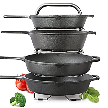 """BetterThingsHome 5-Tier Height Adjustable Pan and Pot Organizer Rack: Adjust in increments of 1.25"""", 10, 11 & 12 Inch Cookware Lid Holder, Stainless Steel (15  Tall)"""