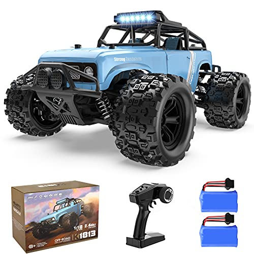 EpochAir RC Cars Remote Control Car for Adults, 40 KM/H High Speed Remote Control Truck, 1:18 Scale 4WD Off Road Monster Truck, RC Rock Crawler with LED Headlight 2 Rechargeable Batteries
