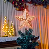KPCB Tech Estrella de Navidad Color Oro Rosa 24 cm con 25 Luces LED Funciona con Pilas