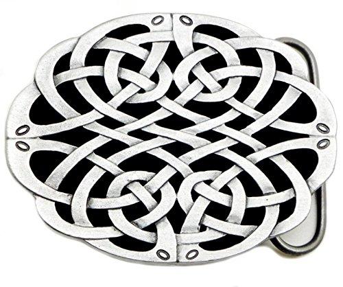 Celtic Knot Belt Buckle Grey Black Oval Design Authentic Dragon Designs