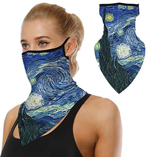 Mens Womens Unisex Bandana Neck Gaiter Ear Loops Mask Balaclava for Dust Starry Night