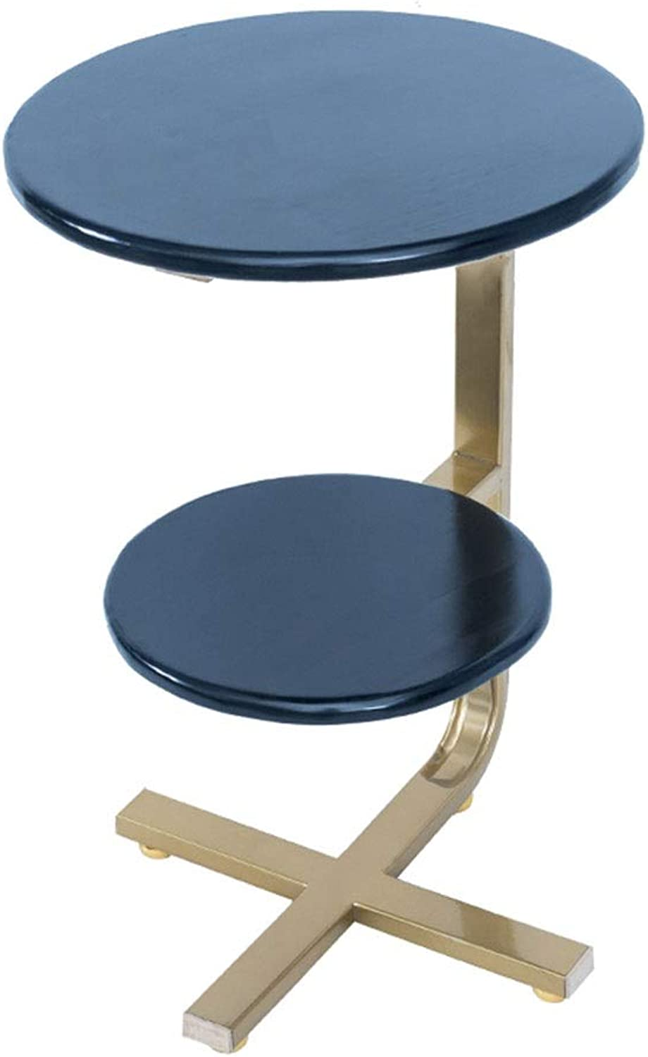 Coffee Table Side Table, Iron Bracket Pine Countertop Double Partition Portable Mobile Simple Small Coffee Table Corner Table (color   bluee)